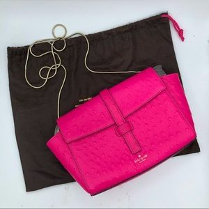 Kate Spade Emmie Riverside Crossbody Ostrich Embossed Leather Pink Gold Chain